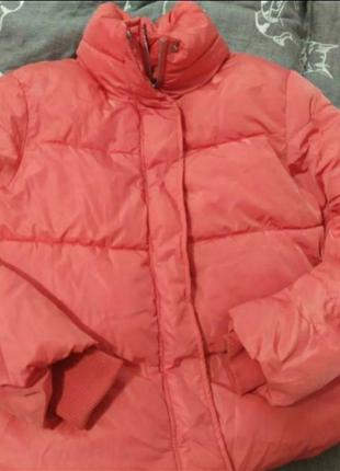 Куртка зимняя оверсайз зефирка кораллового цвета