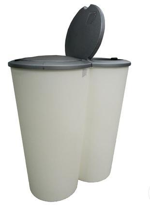 Пластиковое мусорное ведро 50 л твикс 2×25л