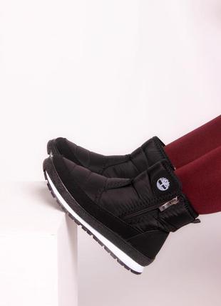 Дутики черные ботинки сапожки зимние термоботинки термосапоги 36-41
