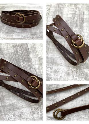 Длинный кожаный ремень пояс на талию 100% натуральная кожа
