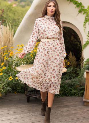 Стильное шифоновое платье/3 расцветки