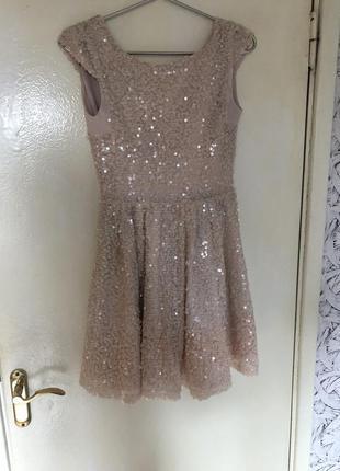 Topshop платье женское вечернее блестящее кремовое