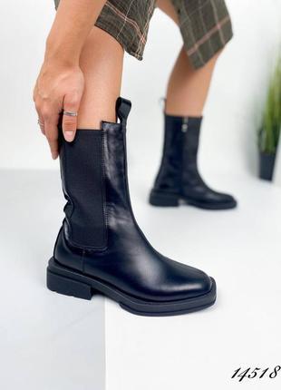 Женские ботинки, чёрные ботинки, кожаные ботинки