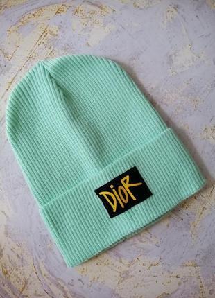 Модная мятная шапка колпак лопата  рубчик с подворотом брендированная