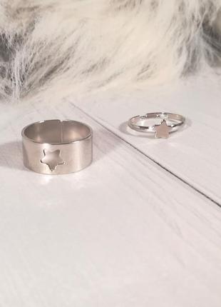 Набор колец бабочки парные кольца с бабочками трендовое массивное кольцо