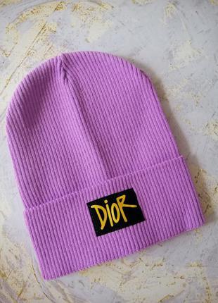 Модная брендовая лиловая шапка лопата колпак в рубчик
