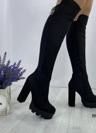 Женские сапоги, замшевые сапоги, чёрные сапоги