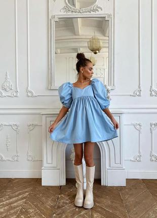Платье миди рукав фонарик — 280 грн