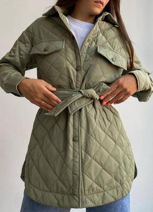 Стёганная куртка-рубашка с поясом хаки зелёная новая