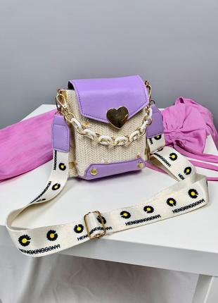 Нова лавандова сумочка з комбінованим матеріалом, трендовий дизайн