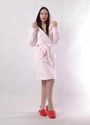Женский махровый халатик шиншила-pink
