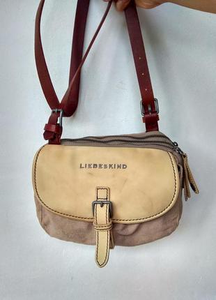 Кожаная / текстильная сумка кроссбоди liebeskind berlin оригинал