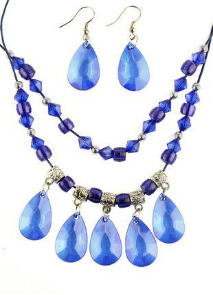 🏵набор бижутерии с синими кристаллами колье и серьги, новый! арт. 4446-87