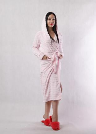 Женский длинный махровый халат шиншилла-pink