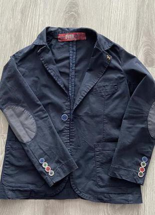 Красивый котоновый пиджак для мальчика 7-9 лет