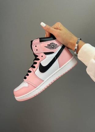 Женские демисезонные спортивные кроссовки nike air jordan 1 retro high pink rose розовые
