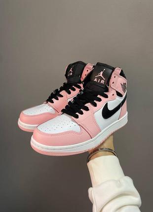 Кроссовки женские nike air jordan 1 retro pink quartz найк джордан