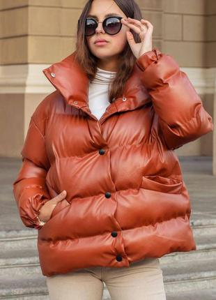 Утепленная куртка из эко-кожи, зимняя