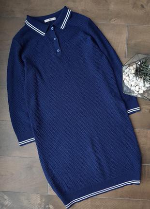 Стильное синее платье поло