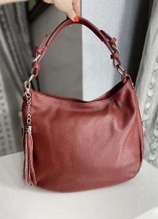 Итальянская кожаная сумка бордового цвета leather country