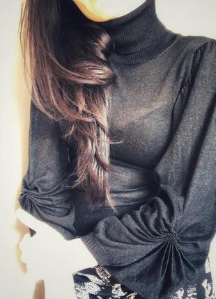 Водолазка чёрная / блузка чорна / кофта чорна / чёрный лонгслив / кофточка объёмный рукав