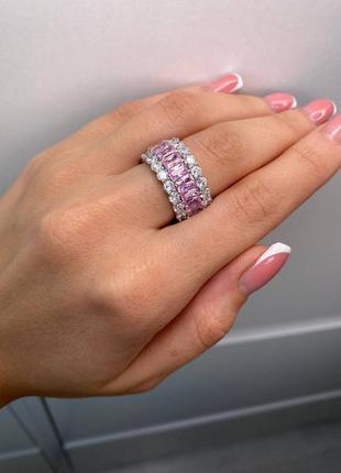 Кольцо женское серебро камни фианиты розовое