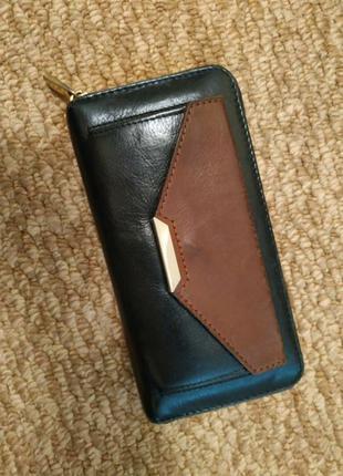 Кожаный кошелек autograph на еруговой молнии натуральная кожа коричневый черный