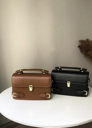 Модная женская сумочка с длинным ремешком, черная и коричневая стильная сумочка
