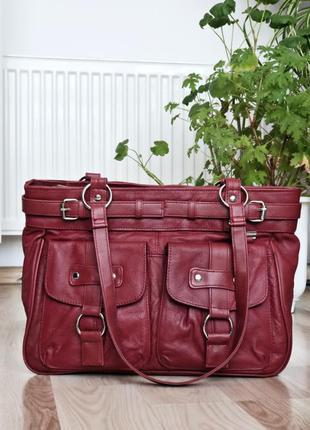 Вместительная классическая кожаная сумка шоппер шопер деловая сумка итальянская