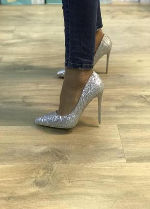 Туфли женские серебро,серебристые
