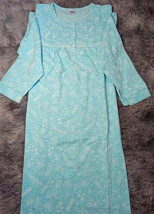 Теплая байковая ночная рубашка с длинным рукавом супер батал melika, теплая хлопковая ночнушка большого размера с рукавами