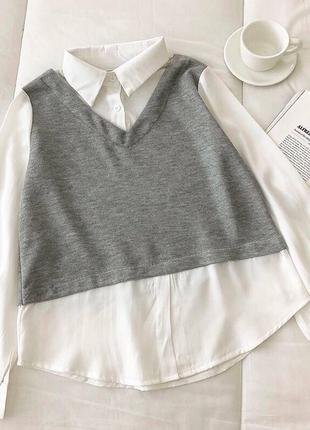 Рубашка с жилеткой серая белая атлас трикотаж