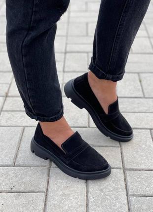 Женские чёрные замшевые лоферы