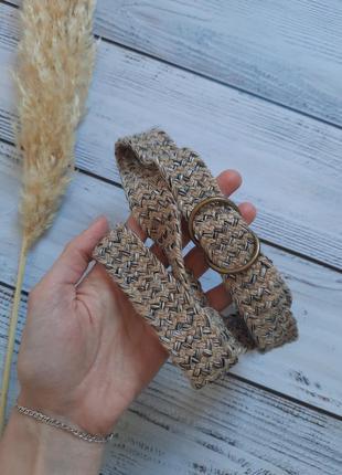 Шерстяной вязаный стильный пояс ремешок бохо