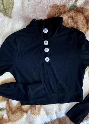 Укорочённая черная кофточка shein
