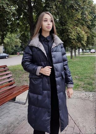 Натуральный  двусторонний пуховик одеяло пальто пуховое