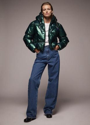 Zara куртка пуффер металлик зелёного цвета xs, s
