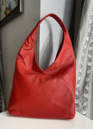 Итальянская красная сумка шоппер из натуральной кожи leather country