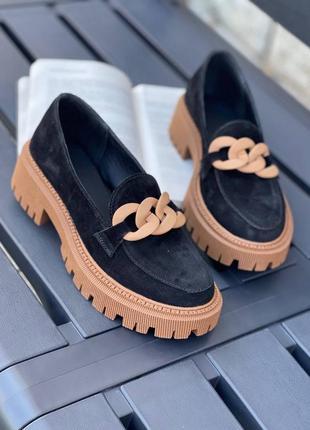 Женские замшевые туфли чёрный с коричневым