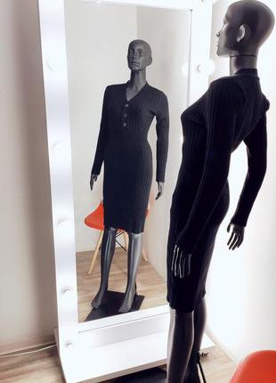 Чорное базовое облегающее платье лапша в рубчик вязка 🖤