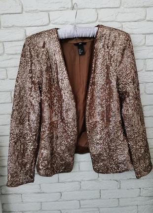 Стильный пиджак в пайетках, нарядный пиджак