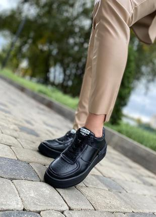🔥 женские кожаные чёрные кроссовки кеды 🔥