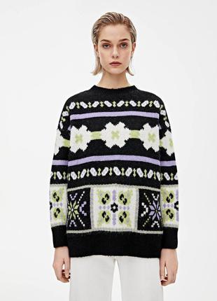 Теплый свитер с рисунком pull&bear