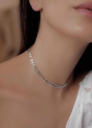 Чокер цепочка со стразами, серебро 925