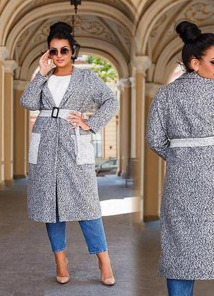 Шикарное комбинированное пальто букле батал