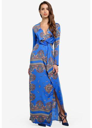 Сатиновое макси платье стильной расцветки