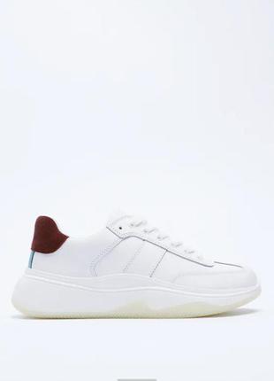 Кожаные кроссовки на платформе натуральная кожа zara оригинал