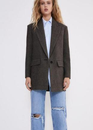 Пиджак жакет пальто в гусиную лапку коричневый шерсть zara s xs