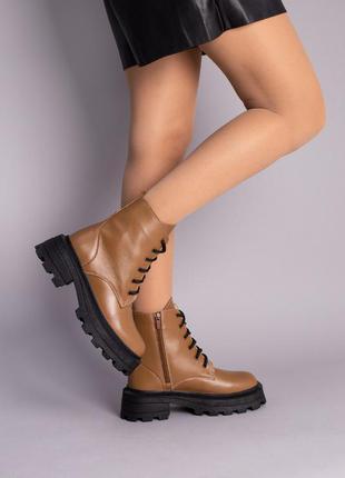Женские демисезонные ботинки натуральная кожа на массивной подошве
