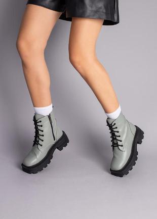 Женские демисезонные ботинки натуральная кожа цвет хаки